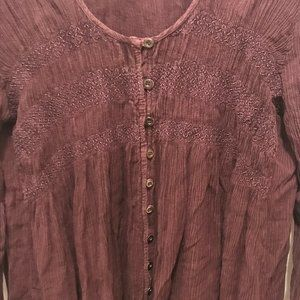 Pinky High Low Frayed Hem Button Down Peasant Top